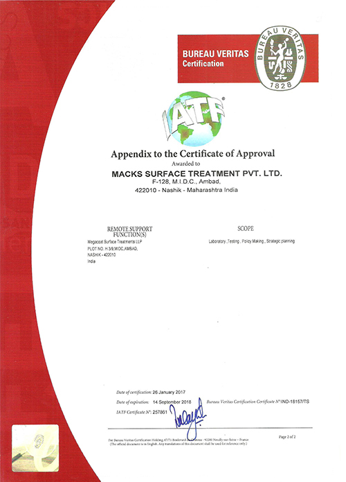 Macks surface treatment megacoat for Bureau veritas india
